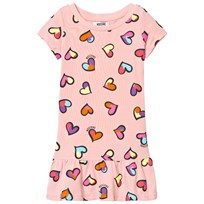 Moschino Kid-Teen Heart Print Drop Waist Jersey Klänning Pale Pink 82097