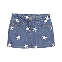Moschino Kid-Teen Mid Wash Star Embroidered Denim Skirt 83964