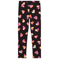 Moschino Kid-Teen Black All Over Heart Print Branded Leggings 82096