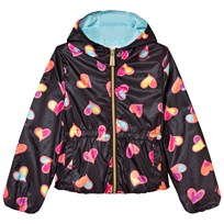 Moschino Kid-Teen Black All Over Heart Print Hooded Jacket 82096