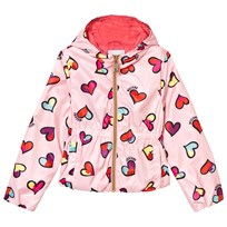 Moschino Kid-Teen All Over Heart Print Hooded Jacka Rosa 82097