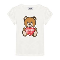 Moschino Kid-Teen Bear and Heart Print T-shirt Vit 10063