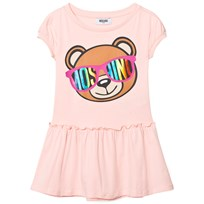 Moschino Kid-Teen Bear Print Drop Waist Klänning Pale Pink 50128