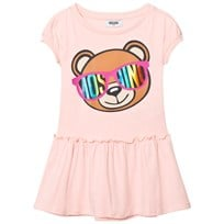 Moschino Kid-Teen Pale Pink Bear Print Drop Waist Dress 50128