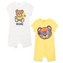 Moschino Kid-Teen 2 Pack of White and Yellow Bear Print Babygrow in Giftbox 10063