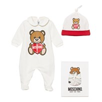 Moschino Kid-Teen White Bear and Heart Print Footed Baby Body and Hat Gift Box 10063