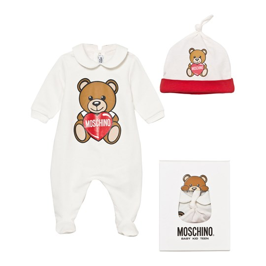67e9821a0ce Moschino Kid-Teen White Bear and Heart Print Footed Baby Body and Hat Gift  Box