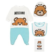 Moschino Kid-Teen Pale Blue Bear Footed Baby Body, Hat and Bib Gift Box. 10063