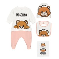 Moschino Kid-Teen Pale PinkBear Footed Baby Body Hat and Bib Gift Box. 50128