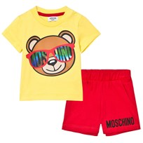 Moschino Kid-Teen Bear Print Short Set Gul och Röd 50797