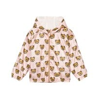 Moschino Kid-Teen Bear Print Hooded Windbreaker Jacka Ljusosa 82094
