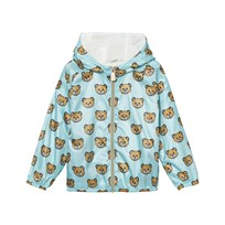 Moschino Kid-Teen Bear Print Hooded Windbreaker Jacka Ljusblå 82095
