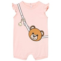 Moschino Kid-Teen Pale Pink Bear Bag Print Frill Romper in Gift Box 50128