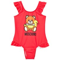 Moschino Kid-Teen Red Bear Print Frill Swimsuit 50666