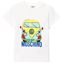 Moschino Kid-Teen Campervan Branded T-shirt Vit 10063