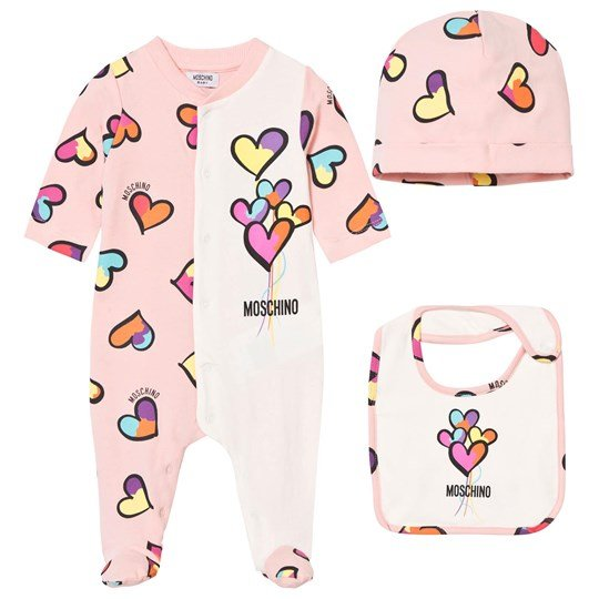 Moschino Kid-Teen Pale Pink Heart Print Footed Baby Body, Hat and Bib Gift Box 82097