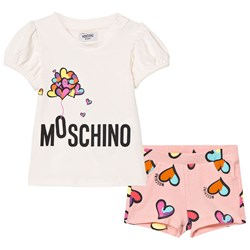 Moschino Kid-Teen White Heart Balloon Print Tee and Shorts Set