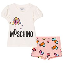 Moschino Kid-Teen Heart Ballon Print T-shirt och Shorts Set Vit 82097