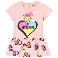 Moschino Kid-Teen Multi Heart och Girl Print Jersey Klänning Pale Pink 50128
