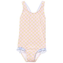 Heidi Klein Pin  Lotte Cross Back One Piece with Blue Gingham Ruffle
