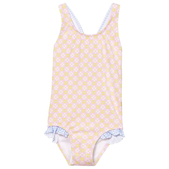 Heidi Klein Pin  Lotte Cross Back One Piece with Blue Gingham Ruffle Pink
