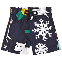 Vilebrequin Navy Print Swimming Trunks 390 BLEU MARINE