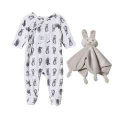 Hust&Claire Nightsuit Bunnies White with Soft Toy Blanket