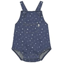 The Bonnie Mob Indigo Terry Dungaree Romper Denim Tee Pee Print Denim Tee Pee Print
