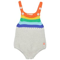 The Bonnie Mob Placed Stripe Knitted Romper Rainbow Rainbow