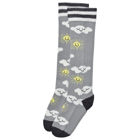The Bonnie Mob Sunshine And Clouds Knee Length Socks Grey Black