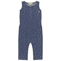 The Bonnie Mob Indigo Terry Sleeveless Jumpsuit Denim Tee-Pee print