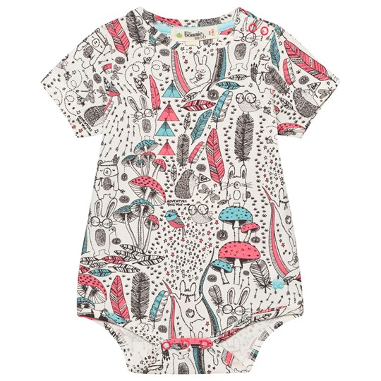 The Bonnie Mob Printed Short Sleeve Baby Body Wilderness Pink Wilderness Pink