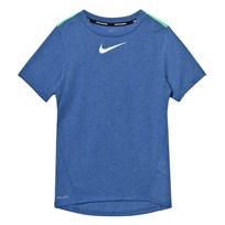 NIKE Blue Tailwind Dry Tee PARAMOUNT BLUE/HTR/ELECTRO GREEN