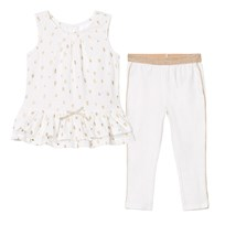 Kardashian Kids White and Gold Glitter Print Set White/Gold
