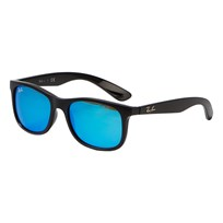 Ray-ban New Wayfarer Junior Sunglasses Matte Black/Blue Mirror 701355