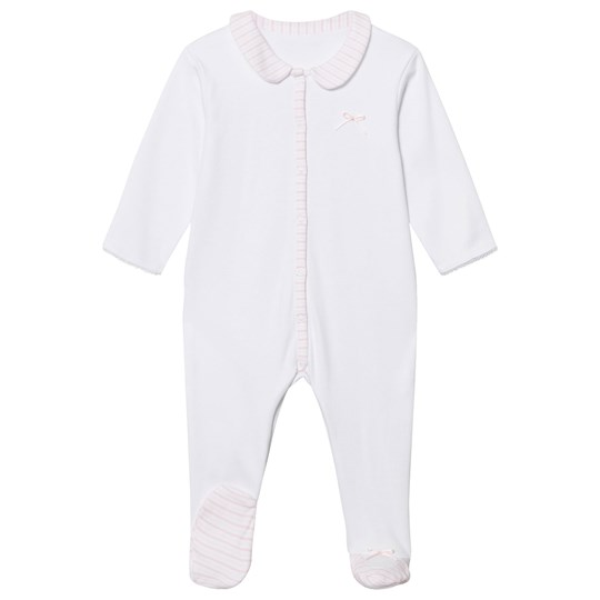 Absorba White and Pale Pink Stripe Collar Jersey Baby Body 30