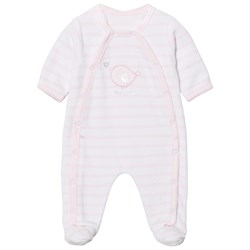 Absorba Pink and White Bird Applique Stripe Velour Footed Baby Body