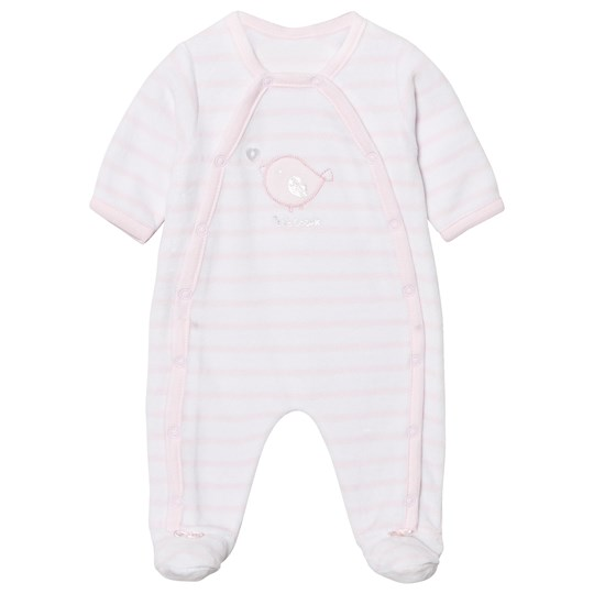 Absorba Pink and White Bird Applique Stripe Velour Footed Baby Body 30