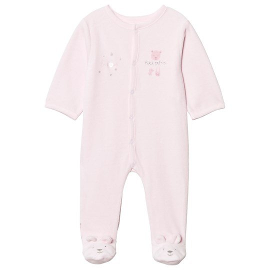Absorba Pink Bear Embroidered and Print Velour Footed Baby Body 30