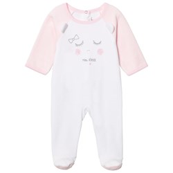 Absorba White and Pink Face Print Velour Footed Baby Body