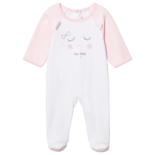 Absorba White and Pink Face Print Velour Footed Baby Body 30