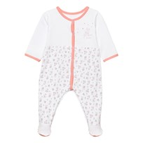 Absorba White and Pink Rabbit Print Babygrow 33