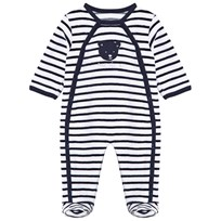 Absorba White and Navy Stripe Velour Footed Baby Body 04