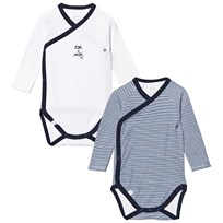 Absorba 2 pack Navy and White Stripe and Plain Långärmad Baby Body 04