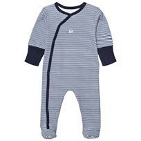Absorba Navy Stripe Footed Baby Body with Scratch Mits 04