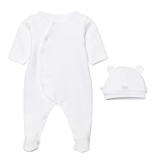 Absorba White Quilted Footed Baby Body and Hat Gift Box 01