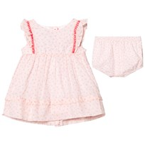 Absorba Light Pink Flower Print Dress with Pom Pom Detail 33
