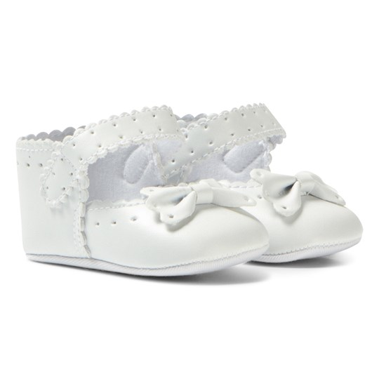 Absorba White Brogue and Bow Crib Shoes 01
