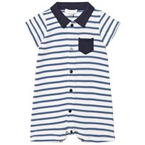 Absorba Blue and White Stripe Jersey Piké Romper 04