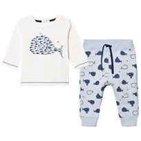 Absorba White and Blue Whale Print Tee and Sweat Pant Set 42